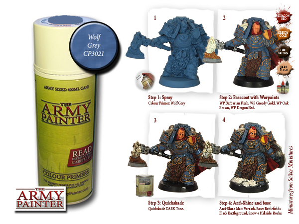 Army Painter: Color Primer, Wolf Grey 400 ml